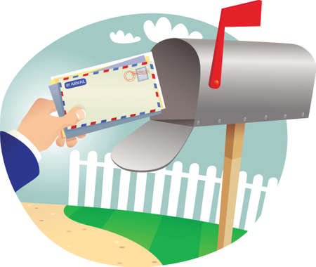 A detail illustration of a postman delivering mail.