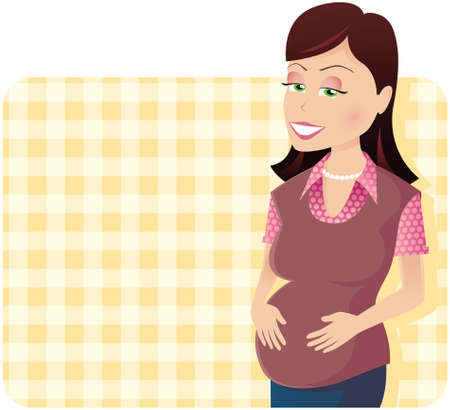 An image of a young mother to be, on a yellow checker background.