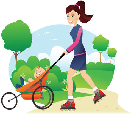 An illustration of a young mother rollerblading through a park with her baby.