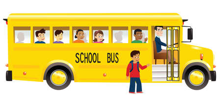 An illustration of a yellow school bus picking up a child. 矢量图像