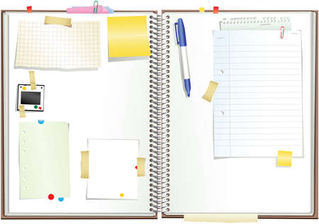 An illustration of an open ringbound scrapbook with plenty of space for your own message.