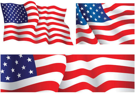 Three vector illustrations of the flag of The United States of America. Ilustração