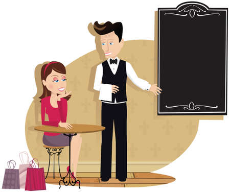 An image of a waiter showing the menu board to a customer. Menu is blank for your own message. Ilustração
