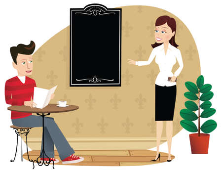 An illustration of a waitress serving a customer. Menu board is blank for your own message.
