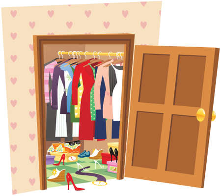 An image of a large and messy walk in wardrobe.