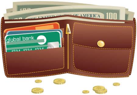 Een afbeelding van een open bruine lederen portemonnee.