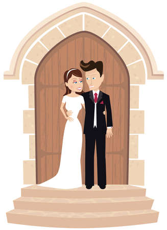 An image of some newlyweds standing outside the church door.