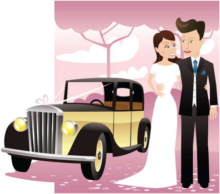 A young newlywed couple posing with the wedding car. Illustration