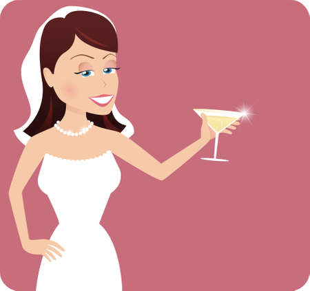 A young bride toasting at her wedding party.