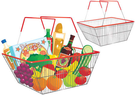 apples and oranges: Two illustrations of a typical wire frame shopping basket.
