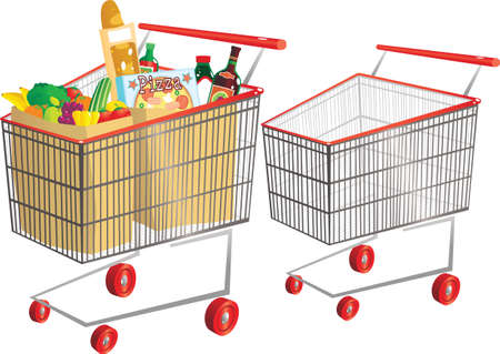 Two illustrations of a typical supermarket shopping trolley. 向量圖像