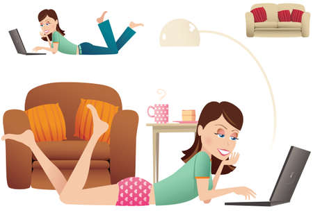 An image of a woman using her laptop while laying on the floor at home. Stock Vector - 79722258