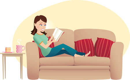 lounging: An image of a woman relaxing at home and reading a book.