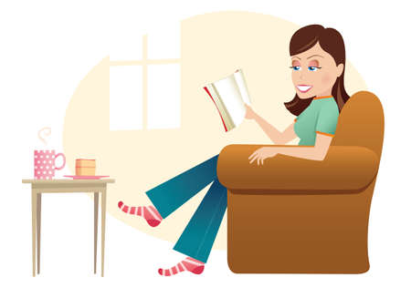 An image of a young woman reading a book in her home.