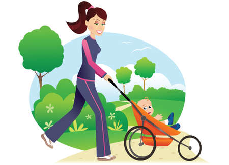 A young mother jogging with her child through the park. Ilustração