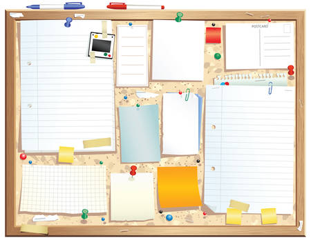 An illustration of a wooden framed bulletin board. Plenty of space for your own message. Vettoriali