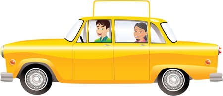 An illustration of an old fashioned yellow taxicab, with blank roof sign for your own message.