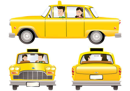 Three illustrations of an old fashioned yellow taxi cab.