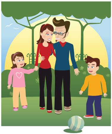 A young family walking through the park together. Ilustração