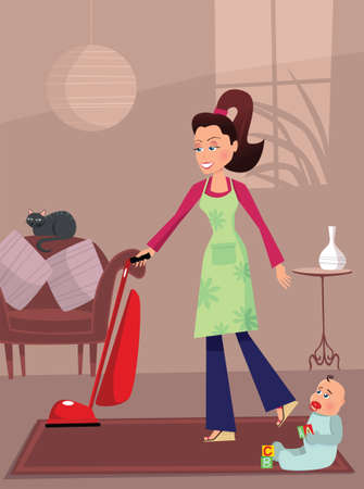 An image of a young mother doing housework while her newborn baby watches.