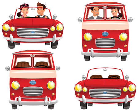 Four different illustrations of classic sports cars and vans.