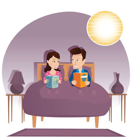 A couple laying in bed and reading books at night. 矢量图像