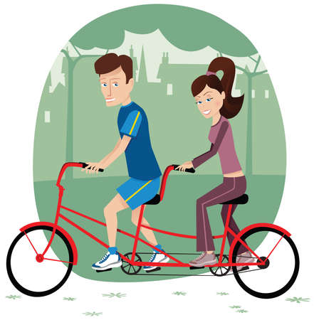 Two people using a tandem bicycle through the park.