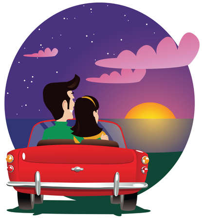 A couple sitting in an open top sports car watching a sunset. Illustration