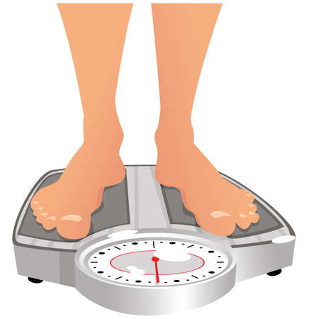 An image of some feet on weighing scales. 向量圖像