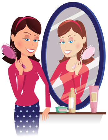 An illustration of a young woman brushing her hair in the mirror.