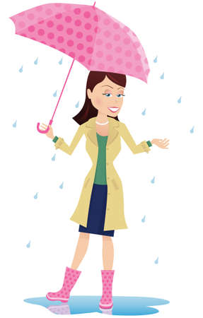 An image of a woman standing in the rain with an umbrella. Ilustração