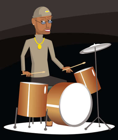 An image of a man drumming on stage. Illustration
