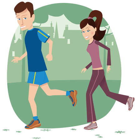 An illustration of a jogging couple in the park.