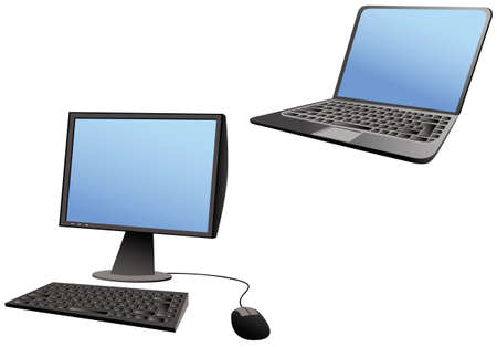 Two cartoon images of both a laptop and desktop computer. Screens are blank for your own message. Ilustração