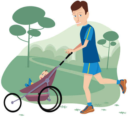 A young father running with a baby stroller through the park. Illustration