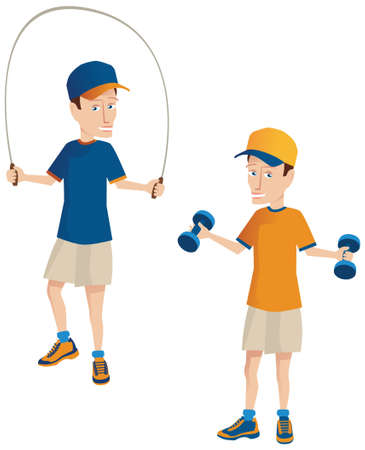 Two illustrations of a man using a skipping rope, and some small weights. Illustration
