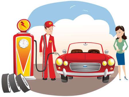 niño parado: Una ilustración de un automóvil que se está llenando en una estación de servicio.