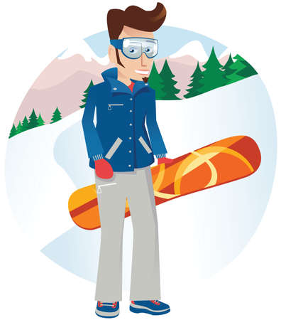 A young male snowboarder posing on the mountain. Illustration
