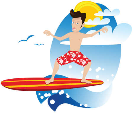 An illustration of a surfer riding a wave. Vettoriali