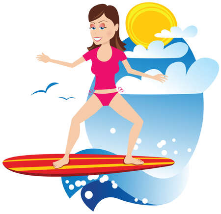 An image of a surf girl riding a wave.