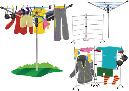 ironing: Illustrations of rotary clothes driers and clothes horses.