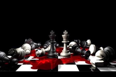 ajedrez: Pieza conceptual para mostrar el verdadero impacto de la guerra