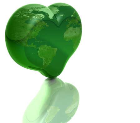 Shiny Green Heart Shaped Earth Isolated on White photo