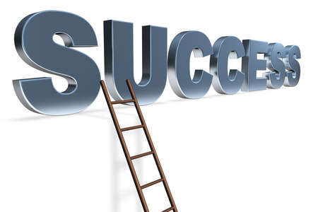 providing: Royalty free stock image of 3D Illustration of the word Success in blue Isolated on white with a ladder leading to it in a conceptual manner providing copyspace below Stock Photo