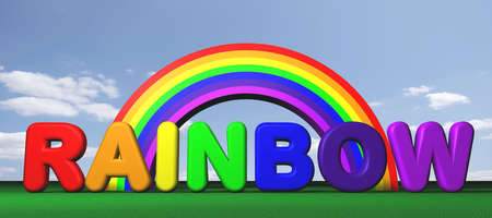 free stock: Royalty free stock image of rainbow text against cloudy sky and a simple rainbow shape Stock Photo
