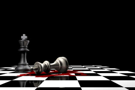 two piece: Conceptual piece to display a fallen king Stock Photo