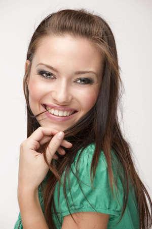 beautiful girl on white background in studio shooting