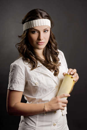 young beautiful girl with positive expression in studio shooting