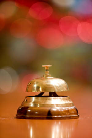 old hotel bell on a wood stand at Christmas  holyday photo