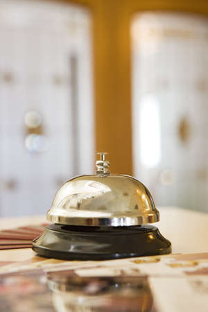service bell: hotel bell on a wood stand
